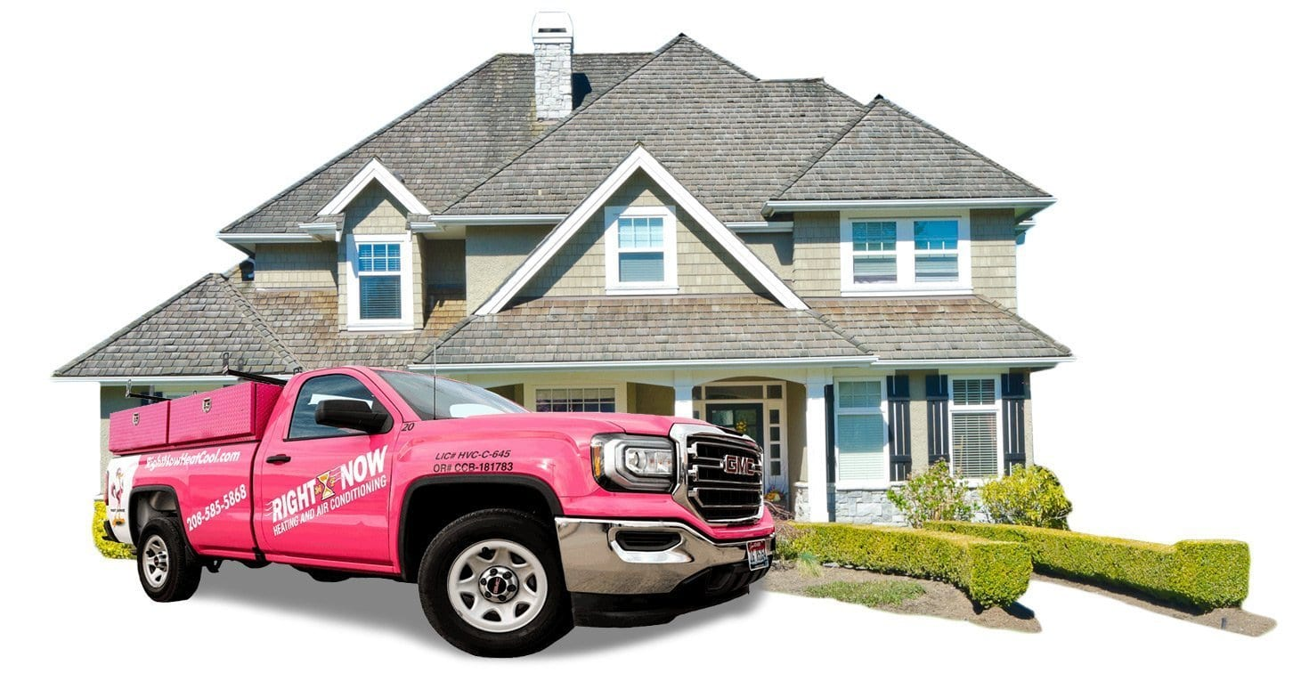 Right Now Heating and Air Conditioning pink truck at home service