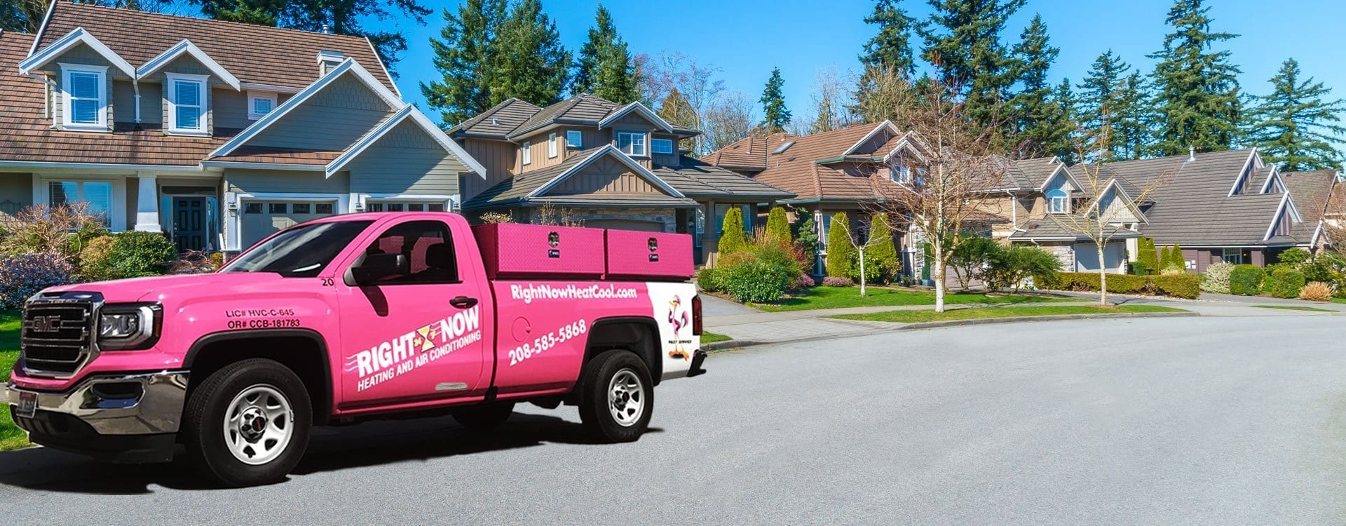 Right Now Heating & Air Conditioning service truck in your neighborhood