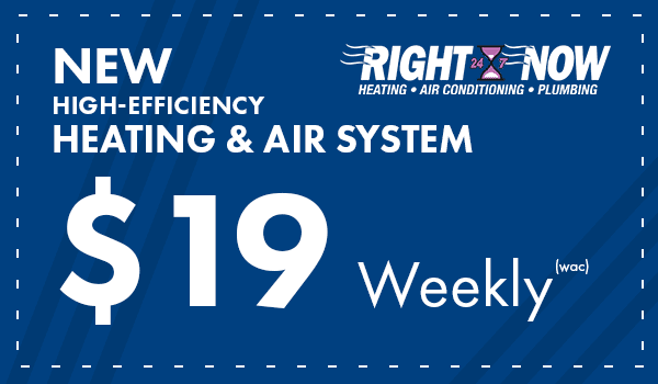 New high-efficiency heating & air system $19 weekly with approved credit